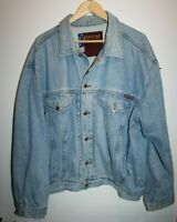 Jordache Basics Vintage Retro Men's Unisex Jean Jacket Washed Blue Denim Size XL