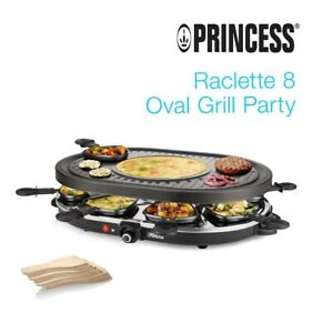 PRINCESS 162700 RACLETTE 8 OVAL GRILL PARTY TERMOSTATO GRIGLIA 1200W