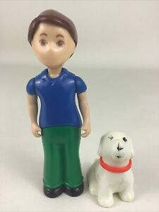 Little Tikes Dollhouse Father Dad Figure White Red Collar Dog Figure Vintage Toy