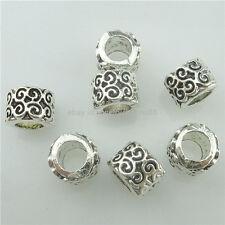 15539 20 Alloy Silver Vintage 9mm Tube Flower Spacer Beads For European Bracelet