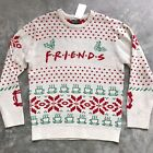 new FRIENDS TV SHOW UGLY SWEATER beige red christmas coffee holiday ADULT MEDIUM