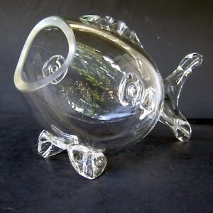 Vintage Large Clear Blown Glass Wide-Mouth Fish Mid Century Modern Vase Jar