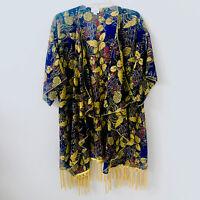 LuLaRoe Large Kimono Gold Fringed Shawl Wrap Navy Floral Print