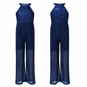 Kids Girl High Waist Jumpsuit Sleeveless Lace Bodice Wide Pants Bodysuit Costume