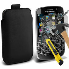 Black PU Leather Pull Tab Case Pouch & Glass for Blackbery Q20