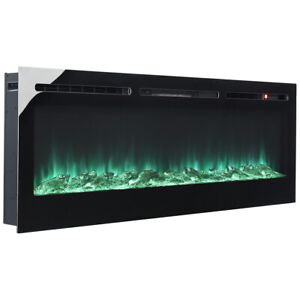 Black Mirror Fireplace Wall Mounted or Recessed / Built In Electric Fire 4 Sizes