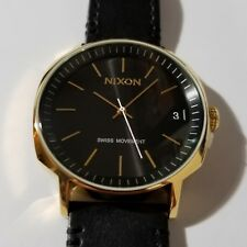 Nixon Regent II Watch With 42mm Black Face & Black Leather Band