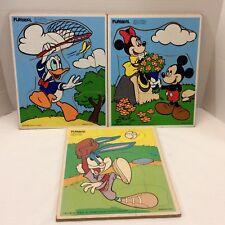 Vtg Playskool 3 Wood Puzzles Bugs Bunny Donald Duck Mickey Minnie Disney