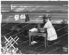 1900s era vintage photo-Little girl playing house-doing laundry-8x10 in