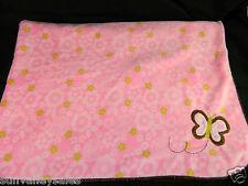 Carters Pink Flower Blanket Brown Butterfly Applique Dark Brown Sherpa