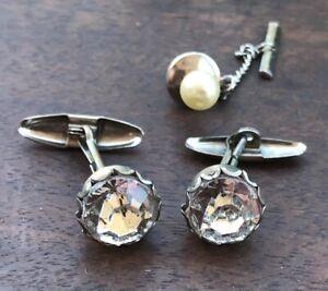 Antique Men's Jewelry. Rhinestone Shirt Studs & Pearl Tie Tack