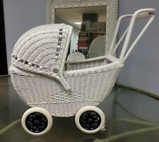 Kids Childs Size Baby Doll Wicker Buggy Carriage Stroller