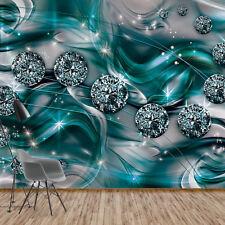 Fototapete Vlies 3D Luxus Diamanten Türkis Grau   Schlafzimmer Tapete  (10578V4)