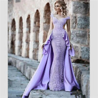 Detachable Train Purple Lace Mermaid Prom Evening Dress Celebrity Party Gown New