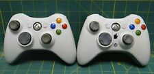 Lot of 2 Authentic Microsoft Xbox 360 Wireless Controllers -White