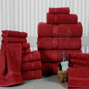 18PC Bath Kitchen Towel Set 100% Long Stapled Cotton Thick Absorbent 600 GSM