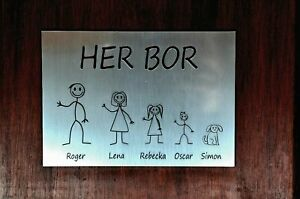 Norwegian Door Plaque Personalised LEAVE GENDERS & CHILDRENS AGES AT CHECKOUT.