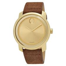 Movado Bold Gold Sunray Dial Mens Cognac Suede Watch 3600449