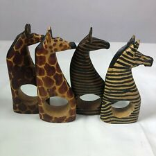 SET OF 4 - Napkin Rings / Holders, Giraffes, Zebras, Besmo Wood, Kenya