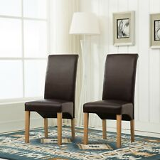 Set of 2 Faux Leather Dining Chairs Roll Top Scroll High Back home restaurants