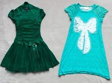 Ella and Lulu and BCX Girls Sparkly Dresses, Sz 6, Green, Ruffle, Bow, Sequins