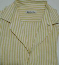 LORO PIANA camicia André - PURO LINO - righe bianche e arancioni - S - originale