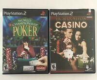 PS2 Playstation Lot 2 COMPLETE POKER Games World Championship+High Roller Casino
