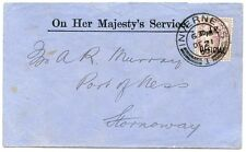 """1900 """"O.H.M.S."""" envelope with 1d lilac """"I.R.Official"""" from Aberdeen to Stornoway"""