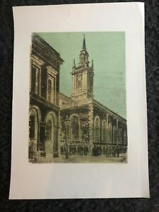 ROBERT TAVENER R.E. Limited Ed LITHOGRAPH St lawrence Jewry, London