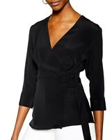TopShop Women's Knit Top Black Size 14 EUR 46 Wrap Solid 3/4 Sleeve $55 #149