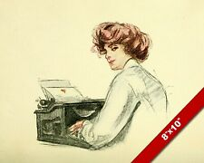 VINTAGE WOMAN WRITING A LOVE NOTE ON TYPEWRITER PAINTING REAL CANVAS ART PRINT