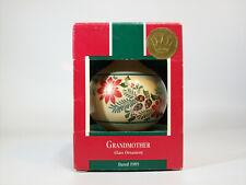 Vintage Hallmark Glass Teardrop Ball Ornament 1989 Grandmother - #QX2775-DB