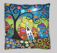Karla Gerard estilo doble cara Mezcla De Lino Abstracto Casa Cushion Covers 18X18