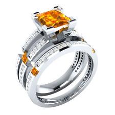 2.50 Ct Princess Citrine & Sapphire Bridal Engagement Ring Set 14k White Gold GP