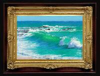 "ORIGINAL Oil Painting Handmade Arseni ~ SEA 6"" X 4"" NO FRAME Artist Art 5"