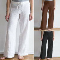 ZANZEA 8-24 Women Plus Size Wide Leg Pants Elastic Waist Office Ladies Trousers