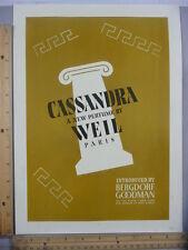 Rare Orig VTG 1936 Cassandra Weil Paris Bergdorf Goodman Advertising Art Print