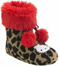 NWT Girls Hello Kitty Pom-Pom Booties Slippers Size 11/12 Cheetah-Print