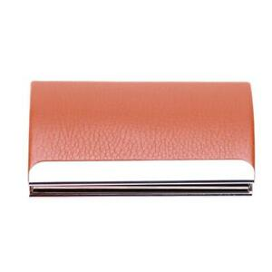 Business Card Holders Curve Shape PU Leather Stainless Steel Card Case  @