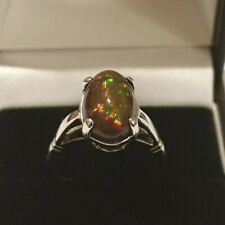 Beautiful 18ct White Gold Natural Black Opal Ring
