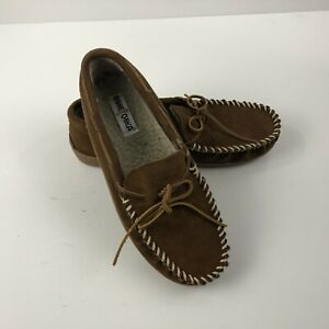 MINNETONKA Men's Moccasin Slippers Size 11 Brown Tyson Trapper Suede Sherpa