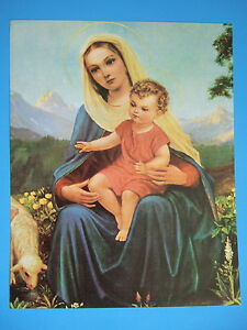 "Catholic Print Blessed Vrigin Mary w/ Baby Jesus 11x14"" ready for framing"