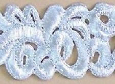Embroidered, Iron-On Trim. 3 Yards. Silver Scrolls