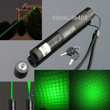High Power Adjustable Focus Green Laser Pointer Pen 303-532nm + Star Cap