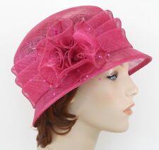 New Church Kentucky Derby Wedding Sinamay Ascot Cloche Dress Hat 1711 Hot Pink n