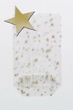 100 Sterne goldene OPP mit Boden 95 x 160  Zellglasbeutel Kekstüten Gebäcktüten