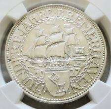 1927 A SILVER GERMANY WEIMAR REPUBLIC 5 REICHSMARK BREMERHAVEN NGC MINT STATE 62