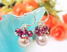 Purple Pearl Garnet Earring-Silver Hook