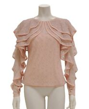Gracia Ruffle sleeve see-through lace top Size M /pink