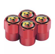 cap Tappi coprivalvola Unviersali Compatibili Antipolvere Cromato Logo Rosso 500 Abarth Punto Panda valvola Ruote Pneumatici